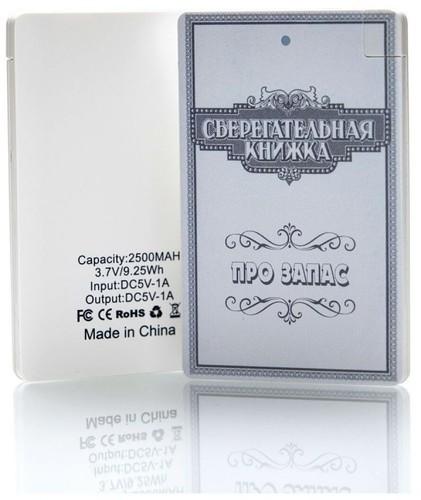 Подарочный внешний аккумулятор Powerbank. Сберегательная книжка. Про запас (2500 mah) (фото, вид 5)