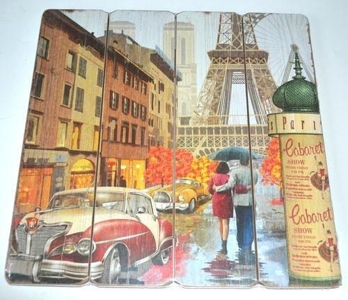 Винтажная деревянная ретро табличка-панно. Париж (40 x 40 см) (фото, вид 6)