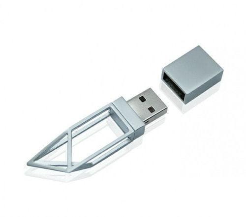 Подарочная металлическая флешка. Геометрия (цвет серебро) (фото, вид 1)