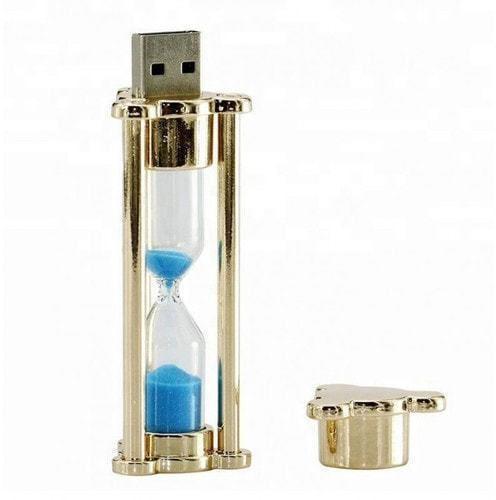 Подарочная металлическая флешка. Песочные часы с синим песком. Цвет золото (фото, вид 1)