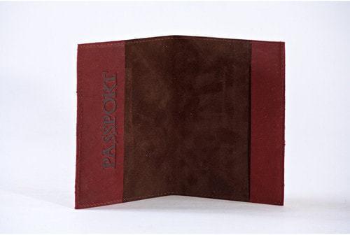 Кожаная обложка на паспорт. Средневековый   Коричневый (фото, вид 1)