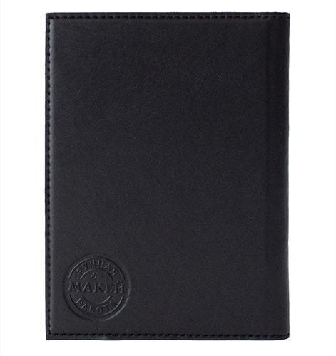 Кожаная обложка на паспорт. Фьёрды   Чёрный (фото, вид 1)