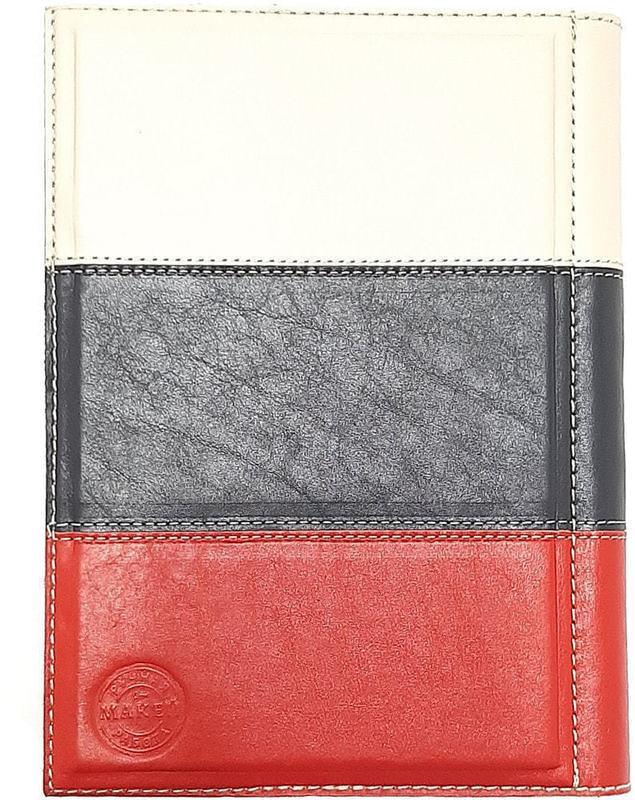 Подарочный ежедневник в кожаном переплете (А5). Триколор (фото, вид 1)