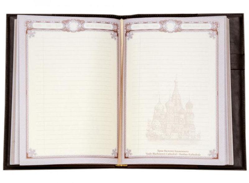 Подарочный ежедневник в кожаном переплете (А5). Триколор (фото, вид 2)