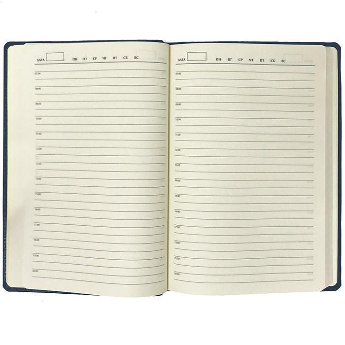 Подарочный ежедневник в кожаном переплете (А5). Classic | Синий (фото, вид 3)