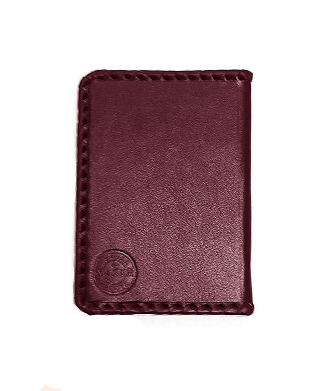 Кожаная обложка на паспорт. Герб РФ с оплеткой | Бордо (фото, вид 1)