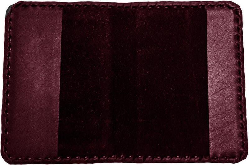 Кожаная обложка на паспорт. Герб РФ с оплеткой | Бордо (фото, вид 2)
