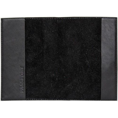 Кожаная обложка на паспорт. Строителю  Чёрный (фото, вид 1)