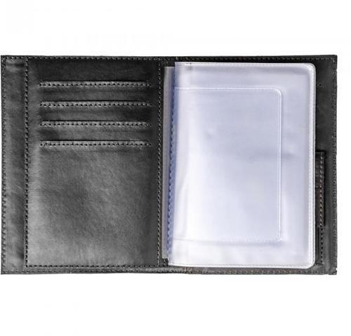 Кожаная обложка для документов (3 в 1). Герб МЧС | Чёрный (фото, вид 2)
