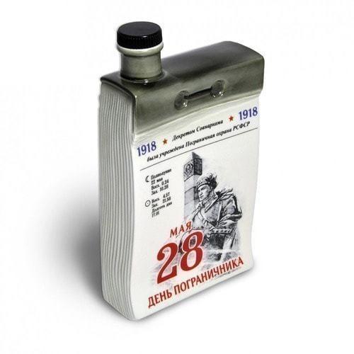 """Подарочный набор с фарфоровым штофом """"Календарь пограничника"""" (фото, вид 1)"""