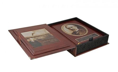 Книга в кожаном переплете и подарочном коробе. Мемуары американского миллиардера Дж. Д. Рокфеллера (фото, вид 2)