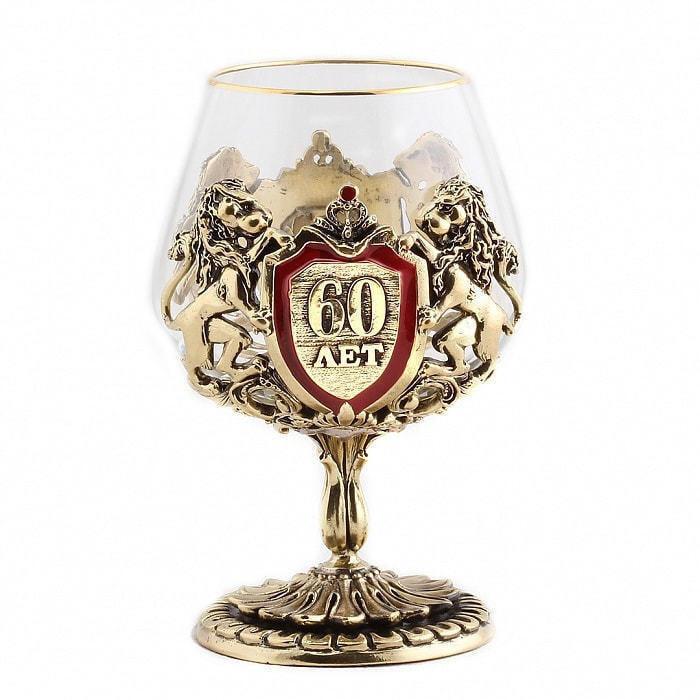 Подарочный бокал для коньяка в деревянной шкатулке. Юбилей 60 лет (фото, вид 2)