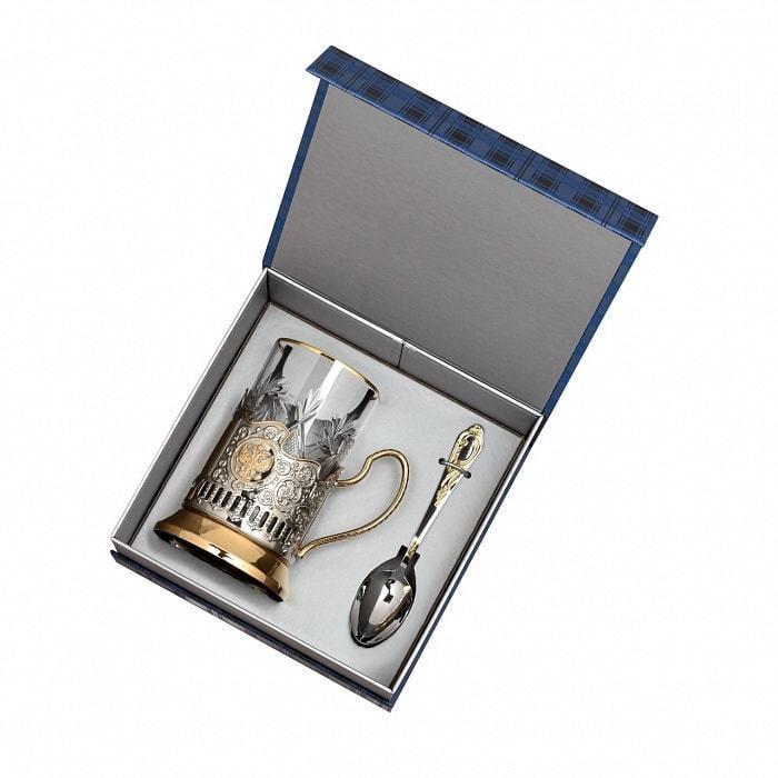 Подарочный набор c позолоченным подстаканником в футляре (3 предмета). С Юбилеем 55 лет (фото, вид 1)