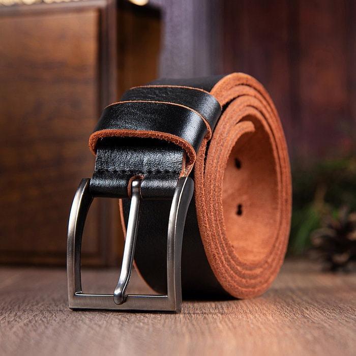 Кожаный ремень в деревянной шкатулке. Настоящий мужчина (цвет черно-коричневый) (фото, вид 5)