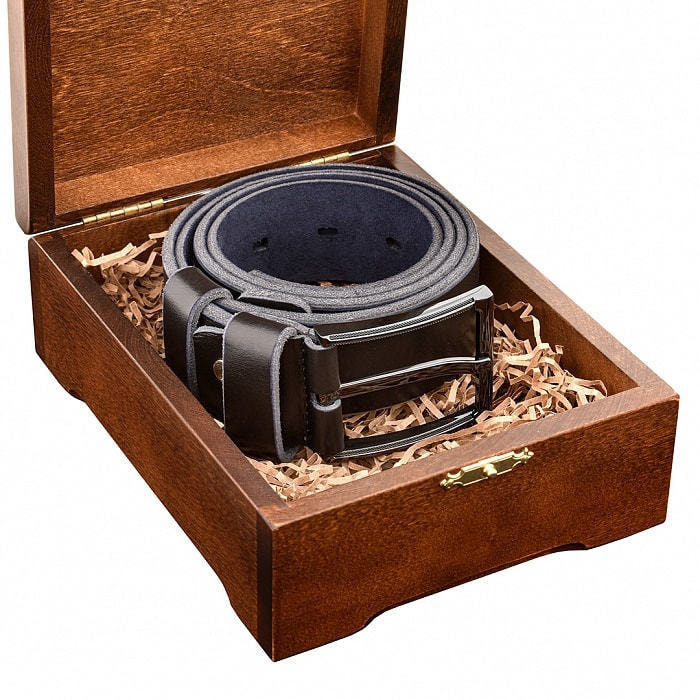 Кожаный ремень в деревянной шкатулке. Любимому мужу (цвет черно-синий) (фото, вид 4)