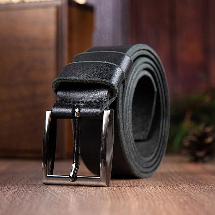Кожаный ремень в деревянной шкатулке. Мой мужчина, моя гордость (цвет черно-серый) (фото, вид 5)
