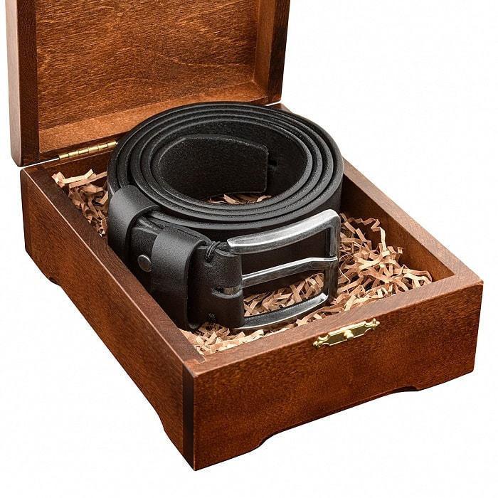 Кожаный ремень в деревянной шкатулке. Настоящий мужчина (цвет черный) (фото, вид 4)