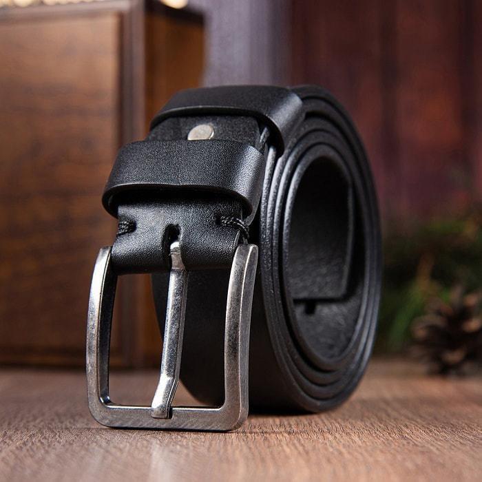 Кожаный ремень в деревянной шкатулке. Настоящий мужчина (цвет черный) (фото, вид 5)