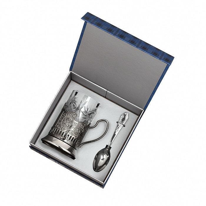Подарочный набор c подстаканником в футляре (3 предмета). Золотой дедушка (фото, вид 1)
