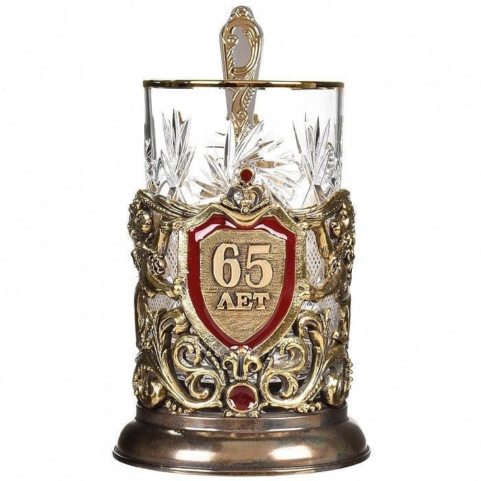 Подарочный набор c подстаканником в деревянной шкатулке (3 предмета). Юбилей 65 лет (фото, вид 2)