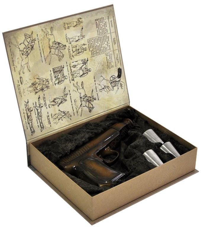 Подарочный набор (фарфоровый штоф + стаканчики). Общевоинские Уставы Вооруженных Сил РФ (фото, вид 2)