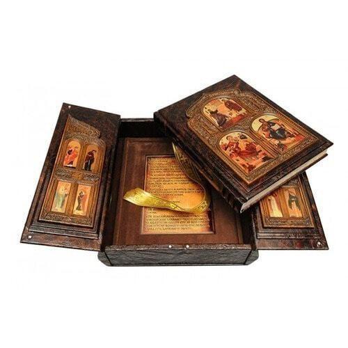 Подарочная книга в кожаном переплете. Библия (в коробе иконостас-складень) (фото, вид 1)