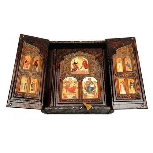 Подарочная книга в кожаном переплете. Библия (в коробе иконостас-складень) (фото, вид 3)