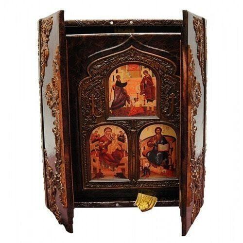 Подарочная книга в кожаном переплете. Библия (в коробе иконостас-складень) (фото, вид 4)
