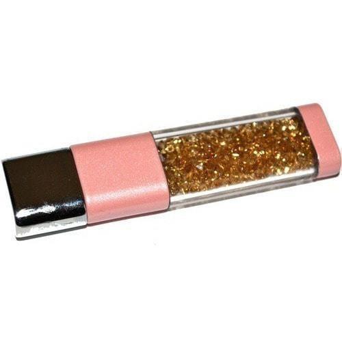 Ювелирная флешка. Брелок с кристаллами SWAROVSKI. Цвет розовый (фото, вид 1)