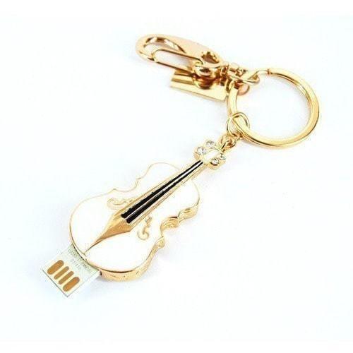 Подарочная металлическая флешка-брелок. Скрипка. Цвет белый (фото, вид 1)