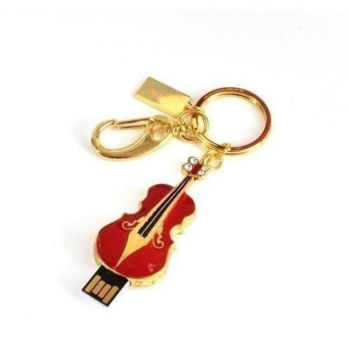 Подарочная металлическая флешка-брелок. Скрипка. Цвет красный (фото, вид 1)
