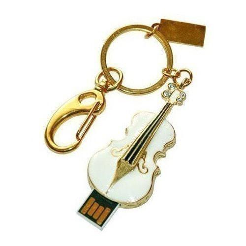 Подарочная металлическая флешка-брелок. Скрипка. Цвет белый (фото, вид 2)