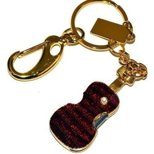 Подарочная металлическая флешка. Скрипка со стразами. Цвет - золото (фото, вид 2)