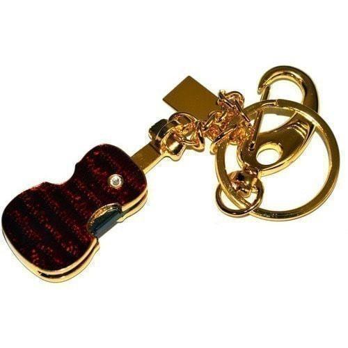 Подарочная металлическая флешка. Скрипка со стразами. Цвет - золото (фото, вид 3)