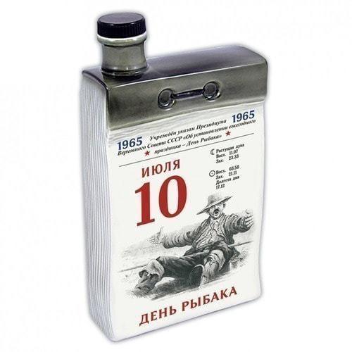 """Подарочный набор с фарфоровым штофом """"Календарь рыбака"""" (фото, вид 1)"""