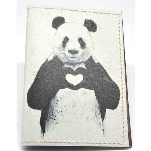 Кожаная обложка на паспорт. Панда (фото, вид 1)