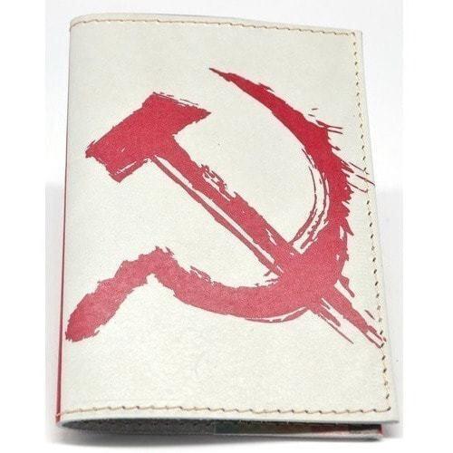 Кожаная обложка на паспорт. Серп и молот (фото, вид 1)