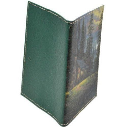 Кожаная обложка на паспорт. Домик в лесу (фото, вид 1)