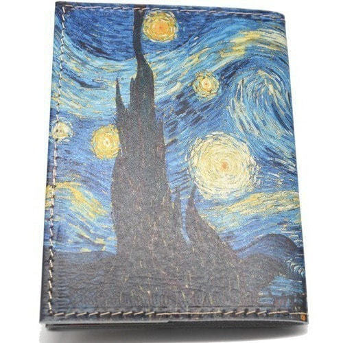 Кожаная обложка на паспорт. Ван Гог. Звездная ночь (фото, вид 3)