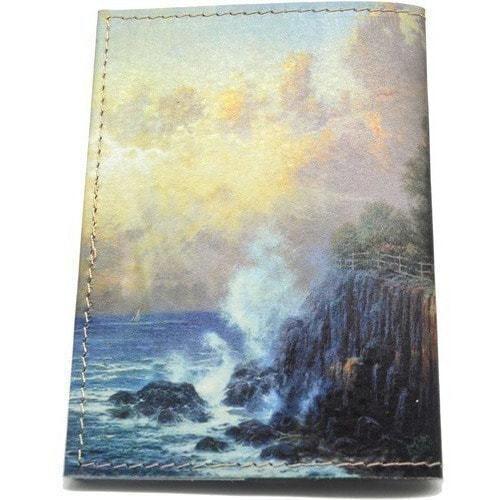 Кожаная обложка на паспорт. Маяк на утесе (фото, вид 3)