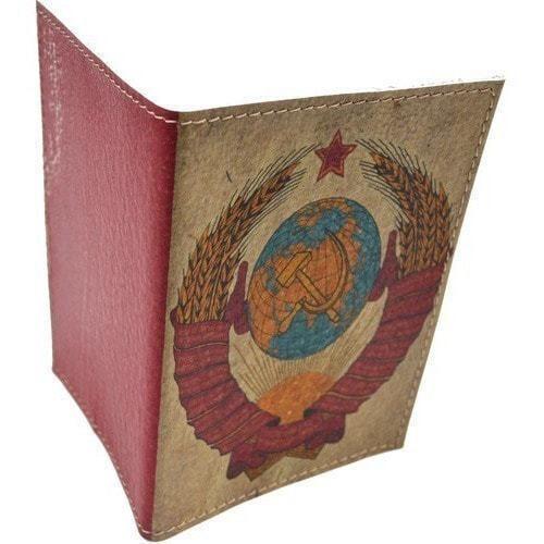 Кожаная обложка на паспорт. Герб СССР (фото, вид 1)