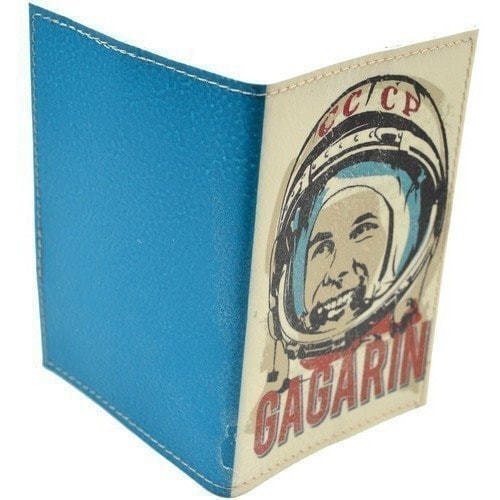 Кожаная обложка на паспорт. Юрий Гагарин (фото, вид 1)