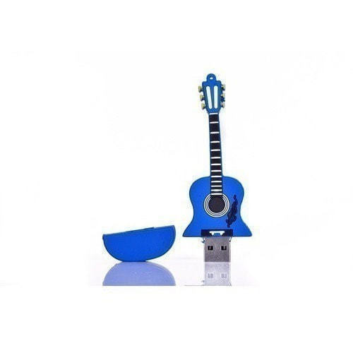 Подарочная флешка. Гитара. Цвет синий (фото, вид 1)