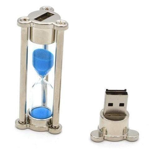 Подарочная металлическая флешка. Песочные часы с синим песком. Цвет серебро (фото, вид 1)