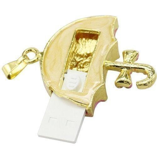 Ювелирная флешка-кулон. Зонтик в стразах (фото, вид 2)