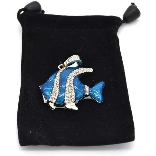 Ювелирная флешка-кулон. Рыбка в стразах (цвет синий) (фото, вид 3)