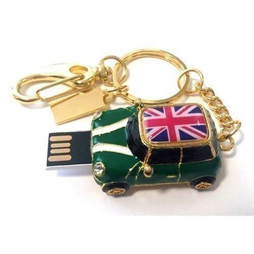 Подарочная металлическая флешка-брелок. Автомобиль Мини Купер зеленый с флагом (фото, вид 1)