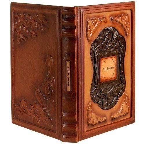 Подарочная книга в кожаном переплете. Пушкин А.С. Избранное (фото, вид 1)
