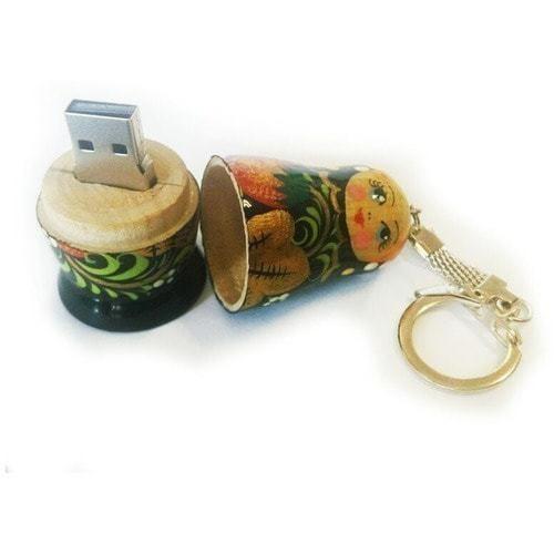 Подарочная деревянная флешка. Русская матрёшка (хохлома. Цвет церный) (фото, вид 1)