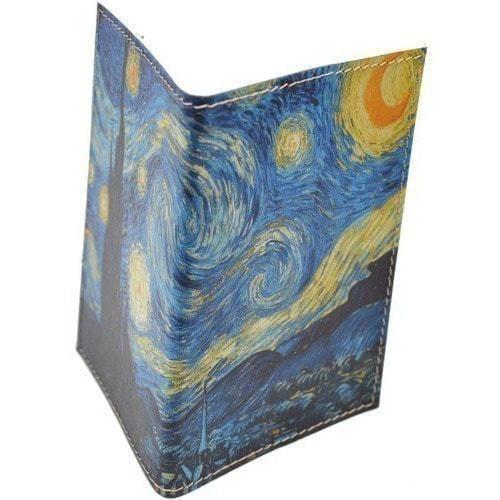 Кожаная обложка на паспорт. Ван Гог. Звездная ночь (фото, вид 5)